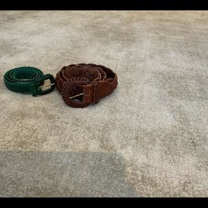 LOT OF 2 LEATHER BRAIDED BELTS BROWN & GREEN 75/30